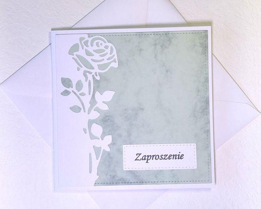 Zaproszenie z różą nr 2 - z kopertą