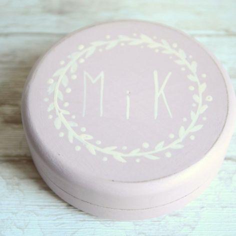 Okrągłe pudełko na obrączki PINK RUSTIC