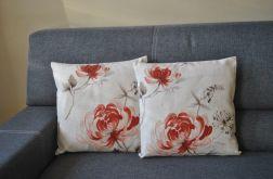 Poszewka dekoracyjna - malowane rude kwiaty