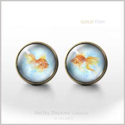 Złota rybka - antyczny brąz - kolczyki wkrętki