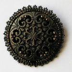Vintage button brown broszka