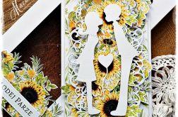 Słoneczniki - kartka ślubna w pudełku