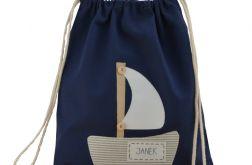 plecak worek żaglówka z imieniem do szkoły