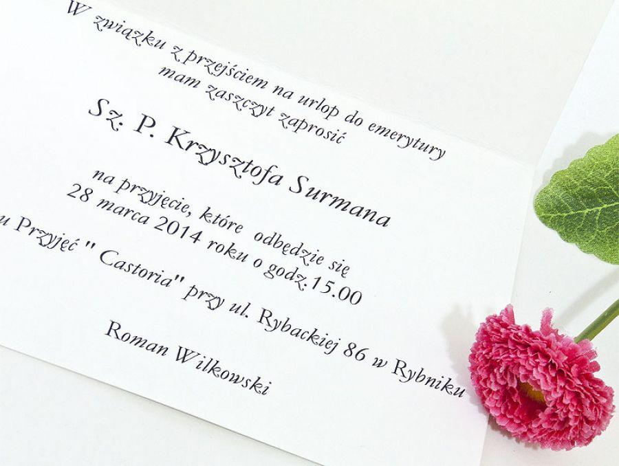 """Zaproszenie na przyjęcie z okazji przejścia na emeryturę """"Moja emerytura"""" personalizowane"""