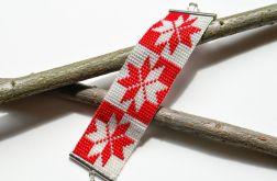 Elegancka czerwono-biała bransoletka prezent