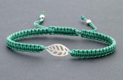 Listek - srebro i sznurek