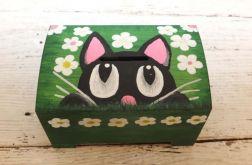 Skrzynka  Drewniana Skarbonka Pudełko Ręcznie Malowana Kot