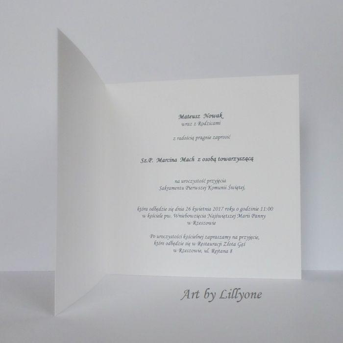 zaproszenie na I Komunię Świetą z koronką