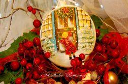 """Medalion malowany ręcznie """"Świąteczne drzwi"""""""
