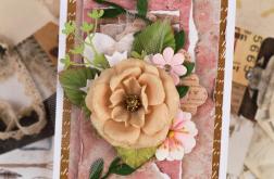 Kartka w odcieniach brązu z kwiatkami
