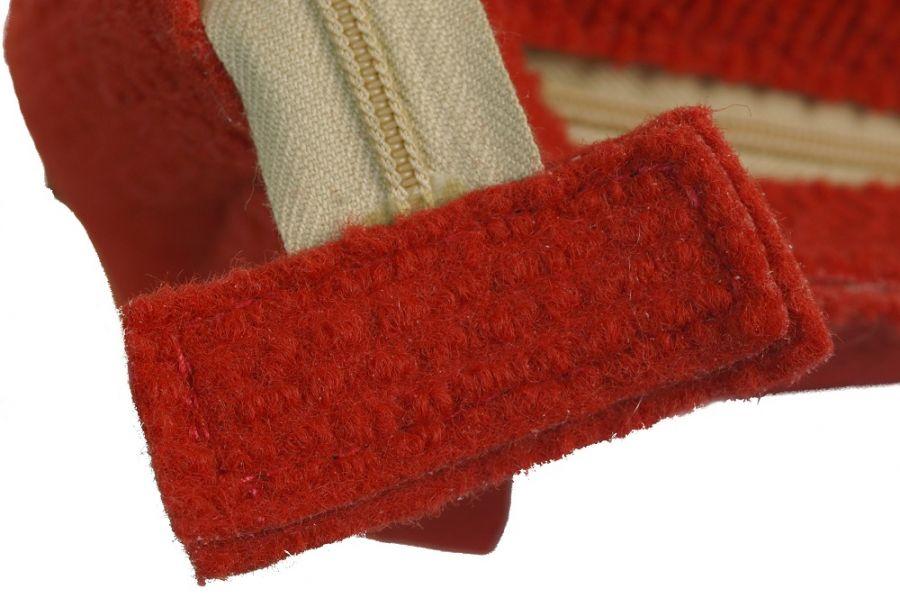SwS TOREBKI Czerwona torebka półkole - zbliżenie suwaka głównego torby