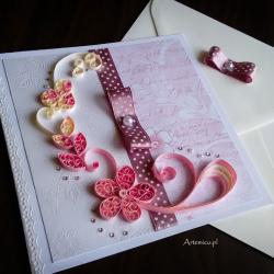 Kartka okolicznościowa różowo-kremowa