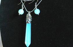 Białe opale i srebro, piękny zestaw biżuterii