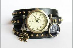 Bransoletka, zegarek - Magiczny las - czarny, nity, skórzany