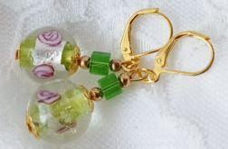 Kolczyki wiszące vintage zielono złote z różą