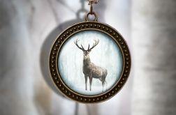 Naszyjnik, medalion - Jeleń 3 - antyczny brąz - zdobiony