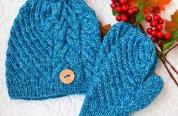 Komplet czapka i rękawiczki turkusowy