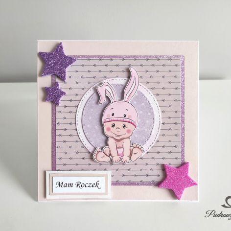 Kartka na roczekdls dziewczynki króliczek gwiazdki