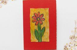 Kartka uniwersalna czerwona z kwiatkiem  3