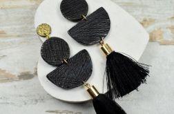 Modne kolczyki z chwostami - złoto czarne