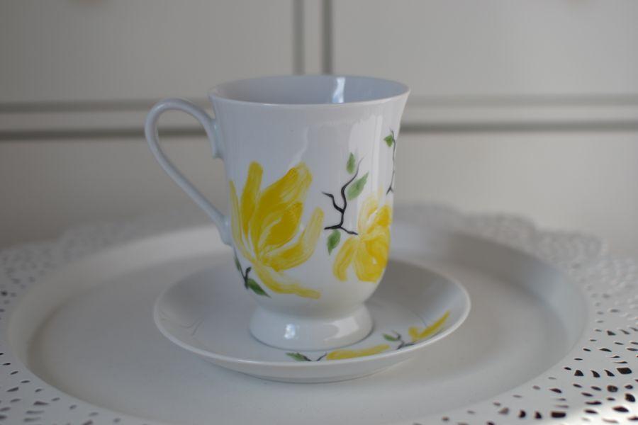 """Filiżanka malowana 300 ml ze spodkiem ,,Żółta magnolia"""" - 2"""