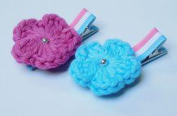 spinki handmade 2 szt. kwiatki szydełkowe4