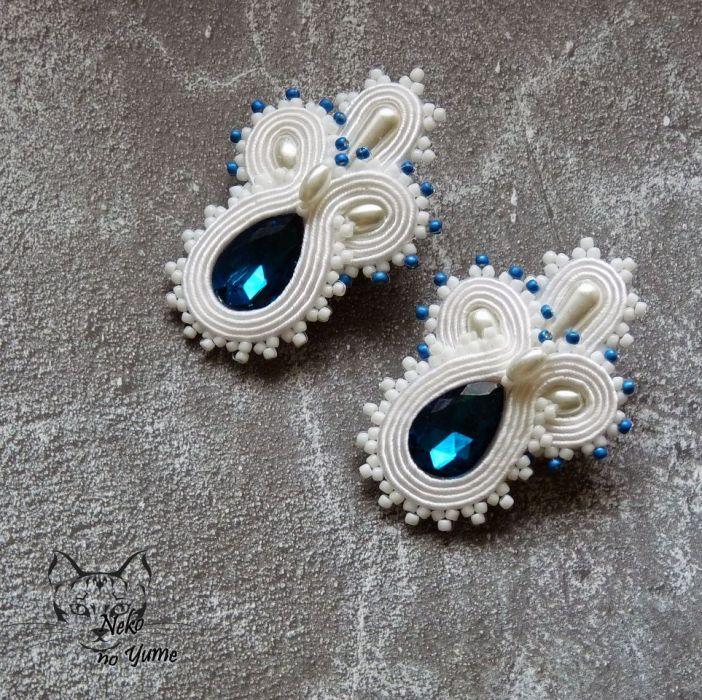 Vera - ślubne kolczyki sutasz z kryształkiem