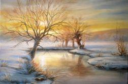 Zima Wierzby, ręcznie malowany, olej