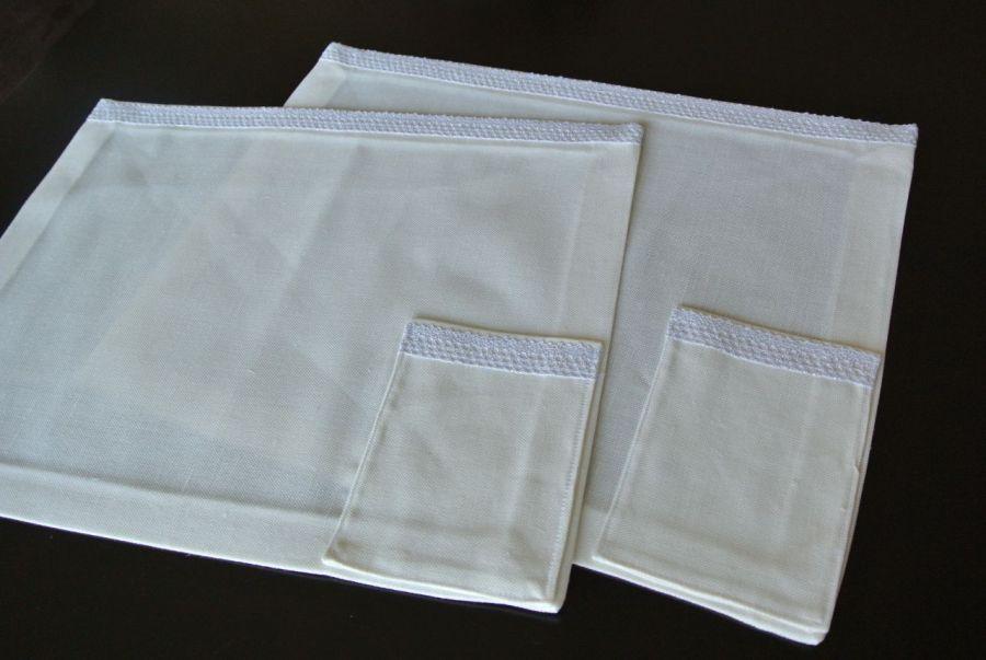 Podkładka pod talerz z kieszonką biała
