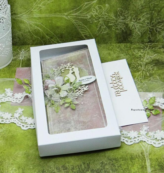 Komplet ślubny kartka+skrzynka na wino 10 - ślubny prezent