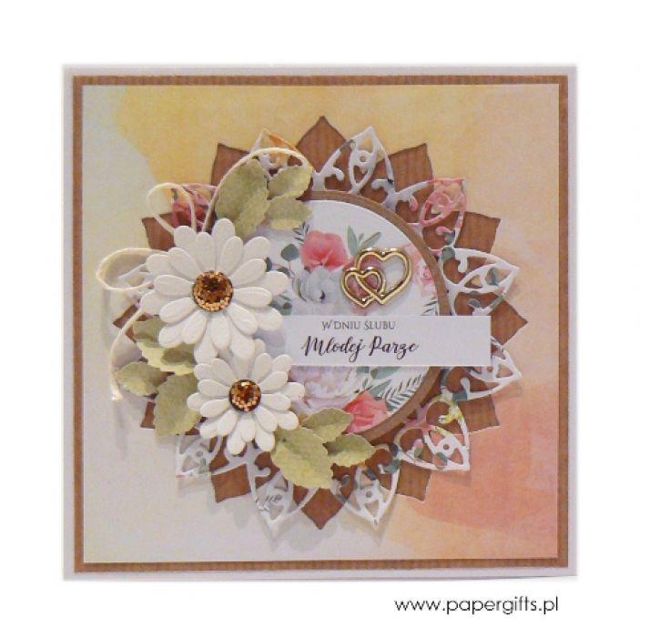 Kartka ślubna białe kwiaty na jasnożółtym tle - Kartka na ślub pastelowa ze złotem