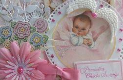 Kartka - Pamiątka Chrztu św. - biało-różowa
