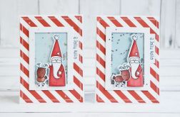 Kartka świąteczna z reniferem i św. Mikołajem