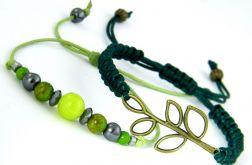 Komplet bransoletek  - kamienie i sznurek