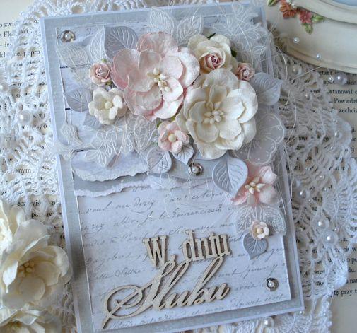 Brokatowa elegancja - kartka w pudełku