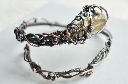 Złoty kwarc - bransoletka z miedzi