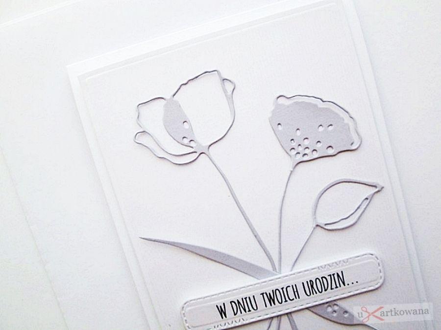 Kartka URODZINOWA - jasnofioletowe kwiaty