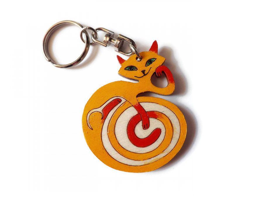 Breloczek malowany Kotek - pomarańczowy +