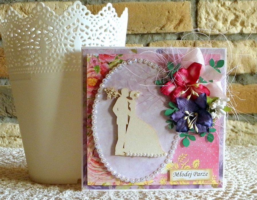 Kartka ślubna - liliowa