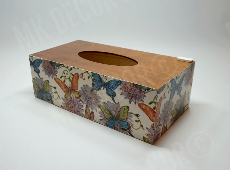 Pudełko prostokątne na chusteczki MOTYLE I KWIATY - opakowanie na chusteczki