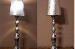 Lampa stołowa szklana HAND MADE, z abażurem