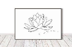 Kwiat lotosu - grafika autorska, rysunek jedna linia