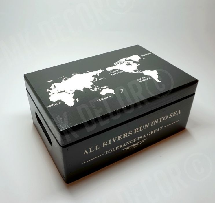 Skrzynia/kufer z wieczkiem czarny z mapą świata - kufer