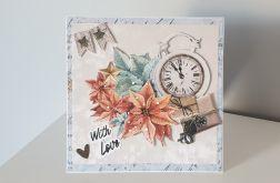 Kartka Boże Narodzenie handmade zegar