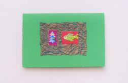 Kartka zielona - choinka i karp