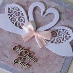 Kartka ślubna na ślub łabędzie -