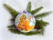 Bombka medalion Miś na śniegu
