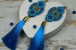 Długie kolczyki chwosty - niebieskie