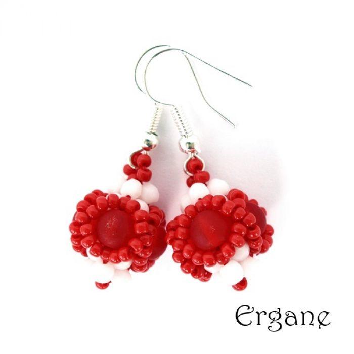 Kolczyki kuleczki biało-czerwone