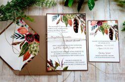 Zaproszenia ślubne jednokartkowe boho pióra